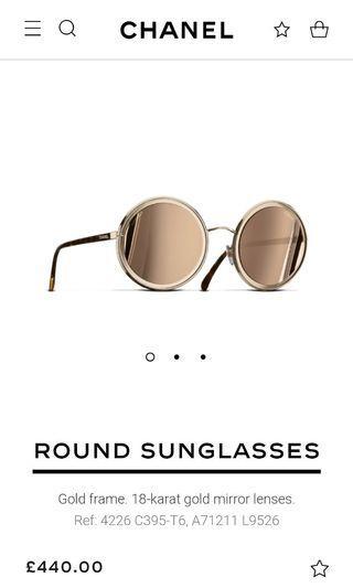 Chanel round sunglasses 18k gold frame mirror lens