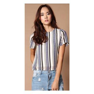 🚚 BN The Stage Walk Robin Short Sleeve Stripe Top in White