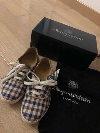 Aquascutum 帆布皮鞋 全皮意大利製造