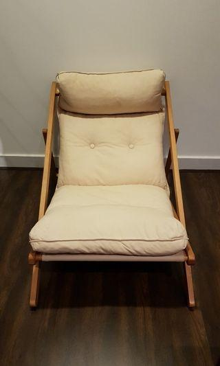 Foldable Wooden Lazy Chair. Comes with Cushion