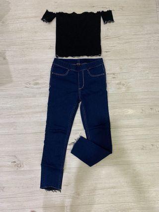 H&M jeans + Off shoulder top