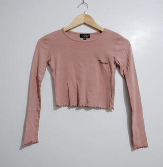 Topshop petite long sleeves crop top