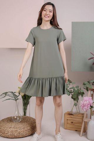 TTR Mae Drop Hem Dress in Sage Green (Size XS)