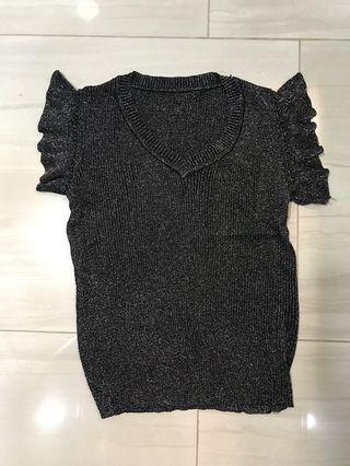 Brand new black glittery ice silk knit top
