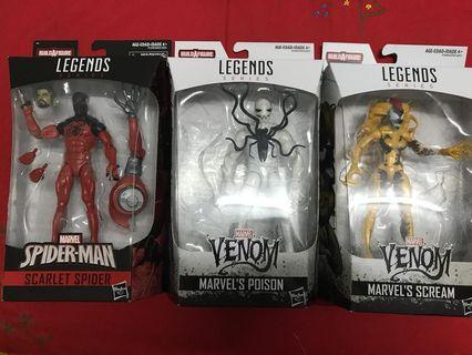 Marvel legends scarlet spider + scream + poison