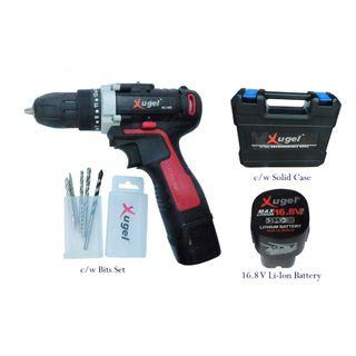 (SG Seller)Xugel Battery Cordless Drill 16.8V Li-Ion with 5pcs Bits Set Model KE1680