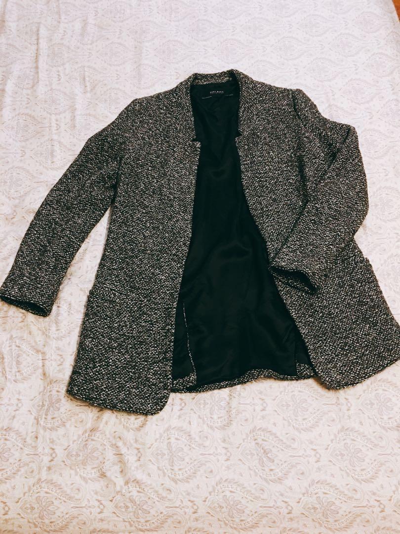 毛呢灰色混色氣勢大衣