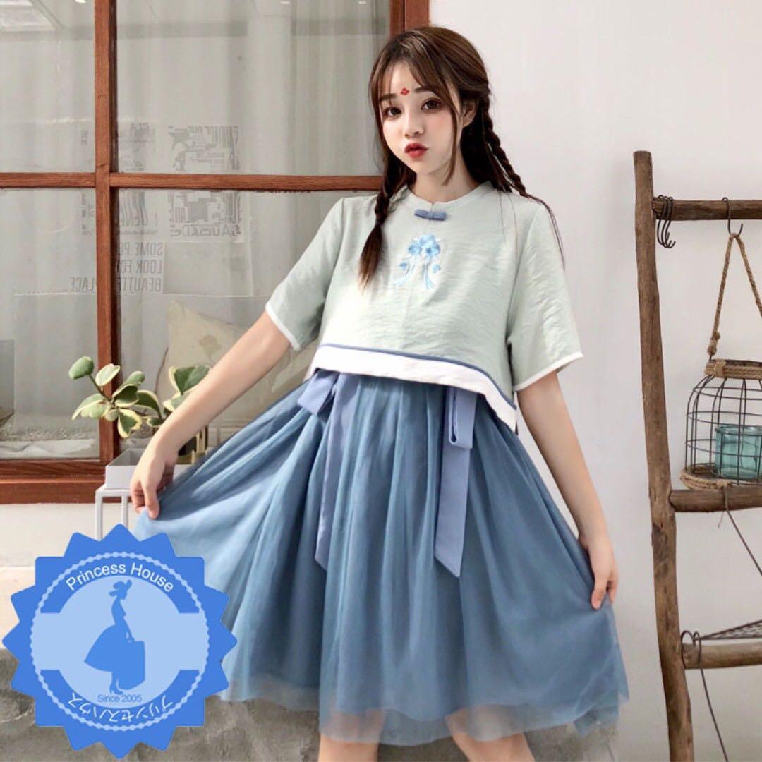 原單 三件式 中國風漢元素 刺繡短袖上衣+拼接網紗背心裙+腰帶 套裝 漢服唐裝 U180707 $168 預購