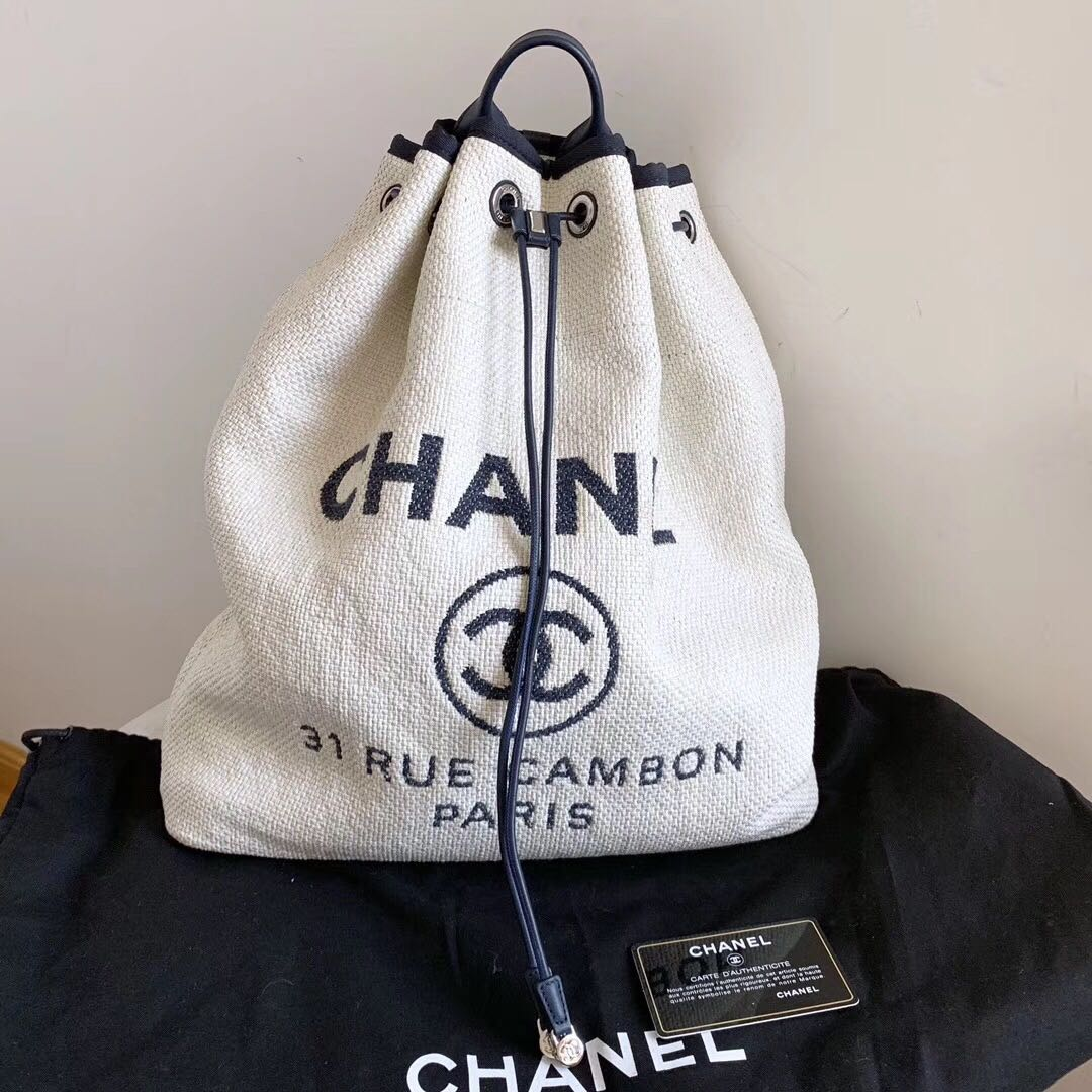 shoes for cheap best website huge sale Authentic Pre-loved Chanel Canvas Drawstring Backpack