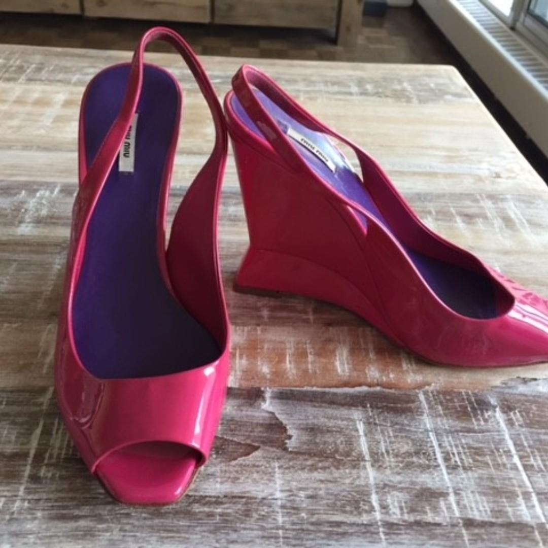 Beautiful, Gorgeous and Bright Designer (Miu Miu) Wedge Heels on Sale!