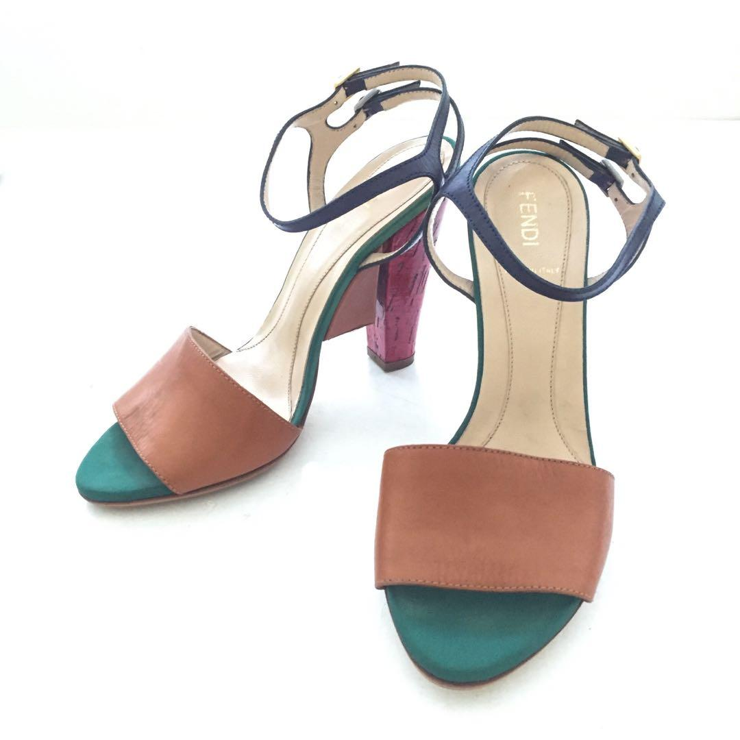 Auth FENDI Brown Green Red Colorblock
