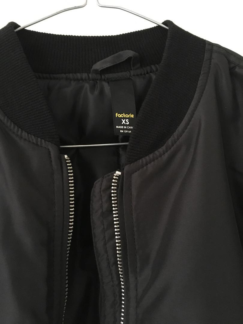 Factorie Black Bomber Patch Jacket