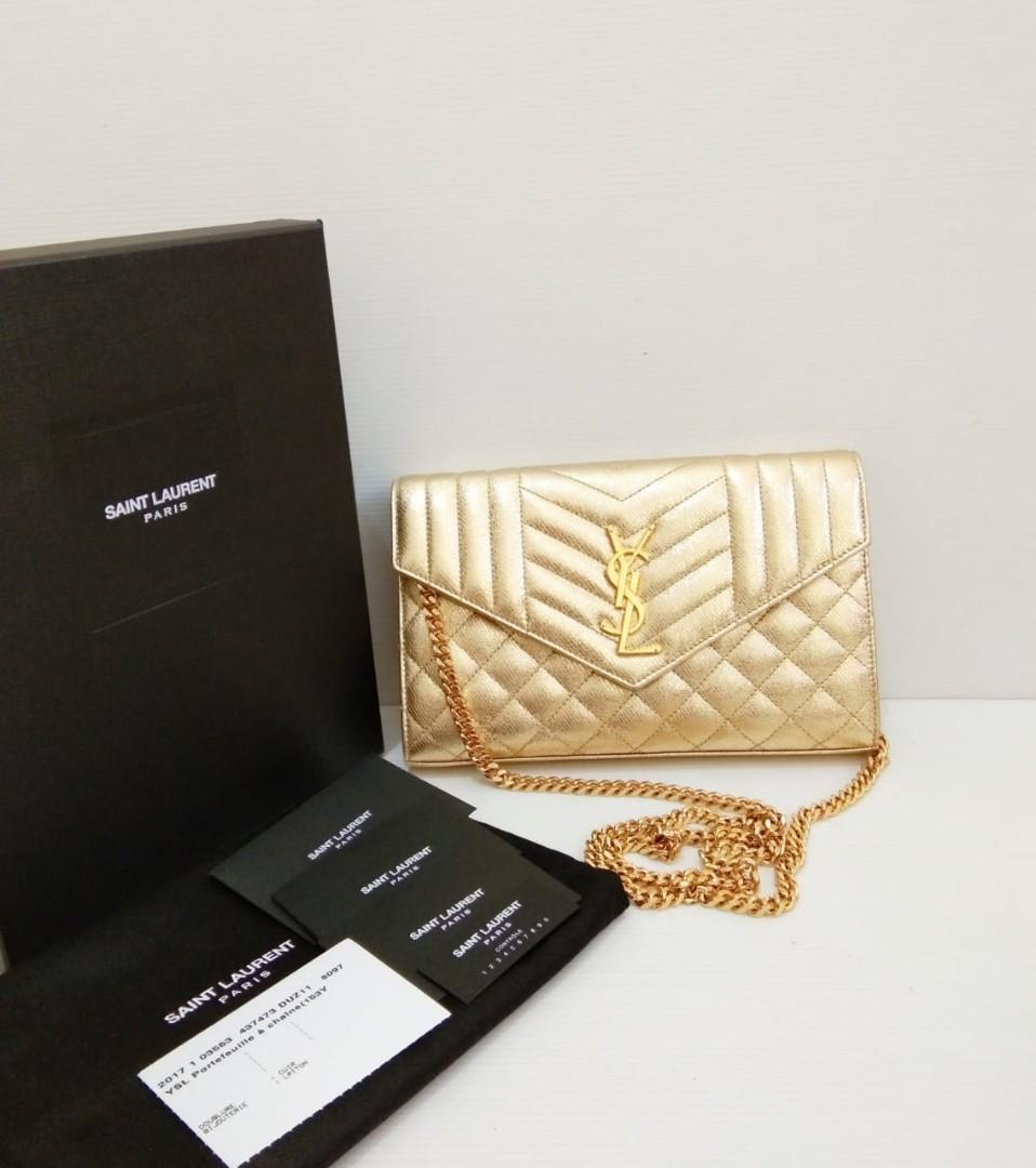Fast Sale! 2017 YSL WOC Gold comes with booklet, year card, dust bag and box (22x2,5x14cm) bisa di sling