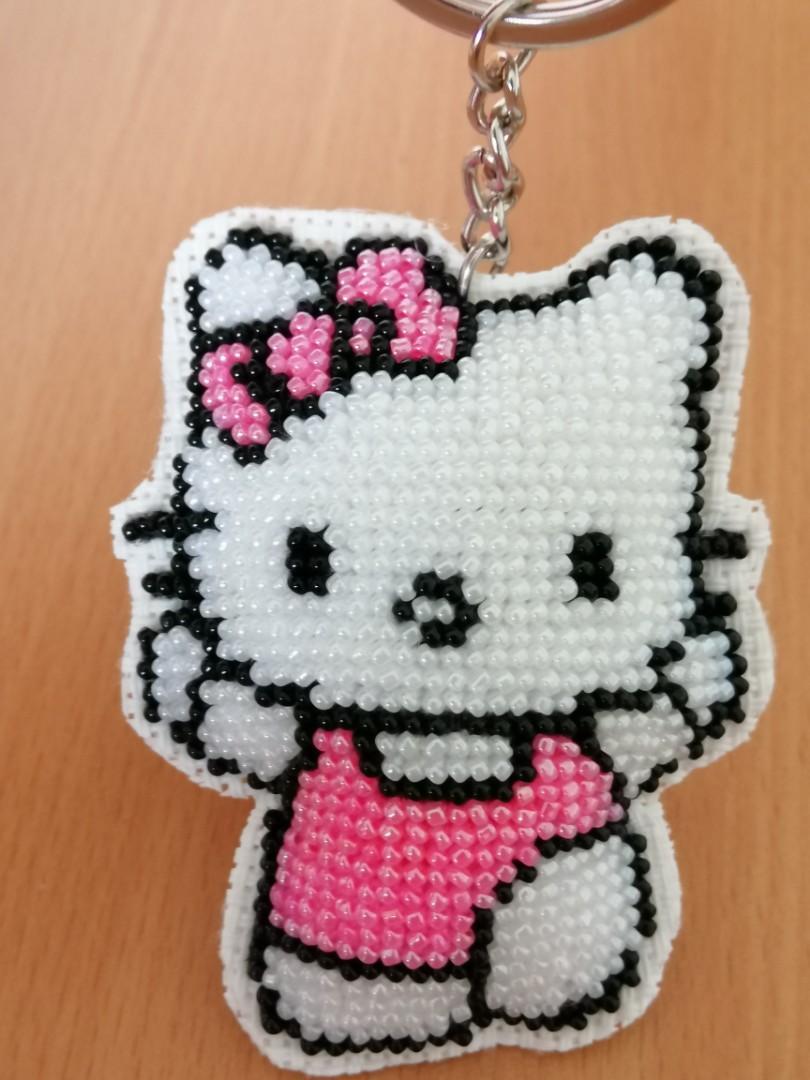 Handmade beaded Hello Kitty keychain