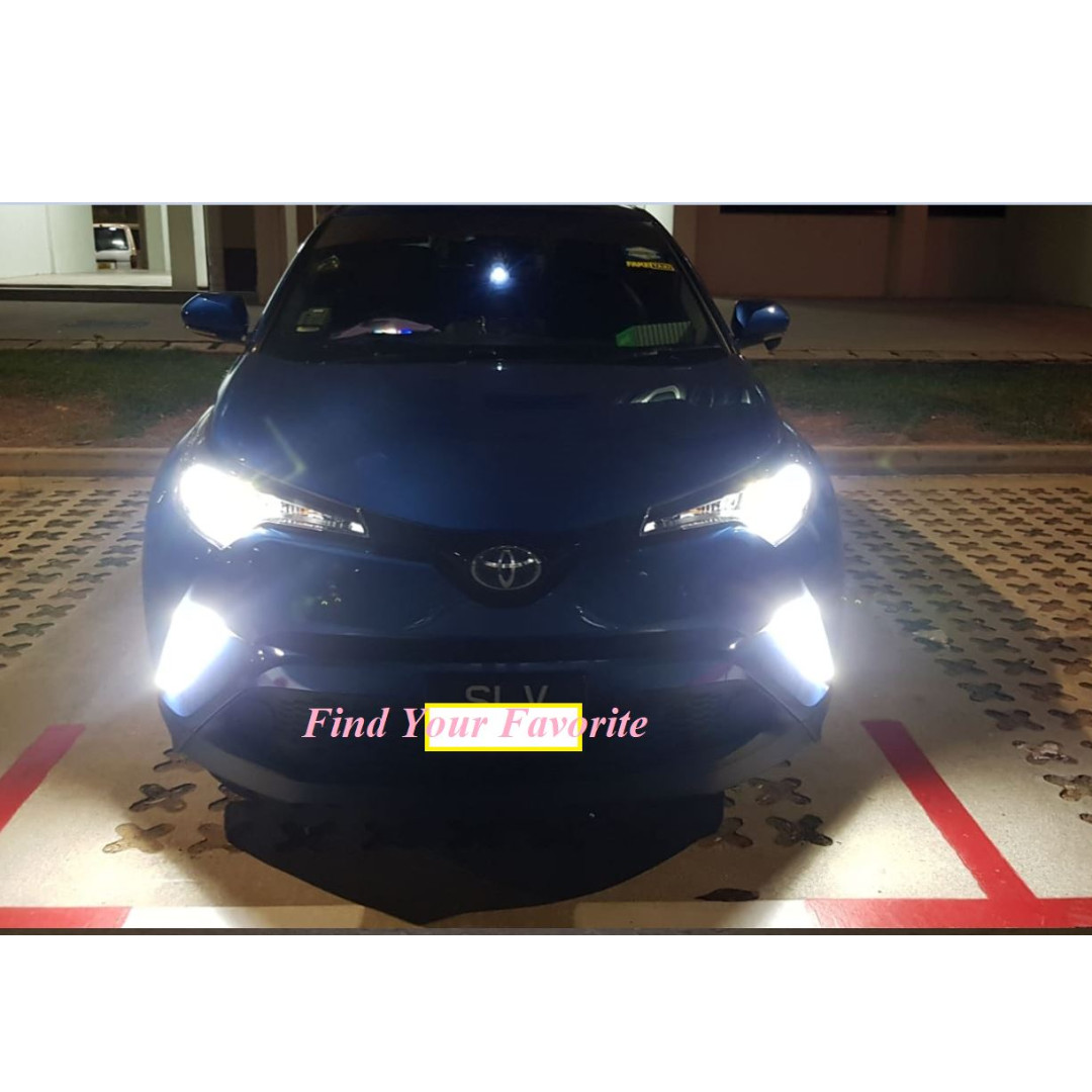 J1 brand 6500K white 2018 New Product CSP LED 9012/HIR2 (9006 HB4 backward  compatible no need additional modify) fanless headlight on Toyota CHR -