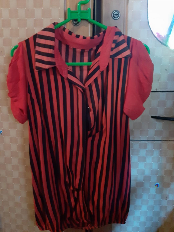 Kemeja Open Shoulder stripe blouse