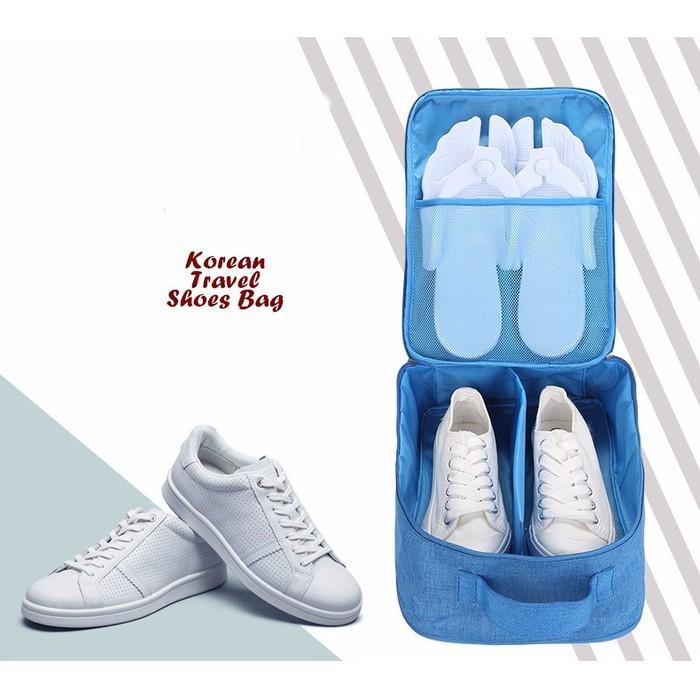 Korean travel shoes bag dua sisi, bisa diselip ke gagang trolley