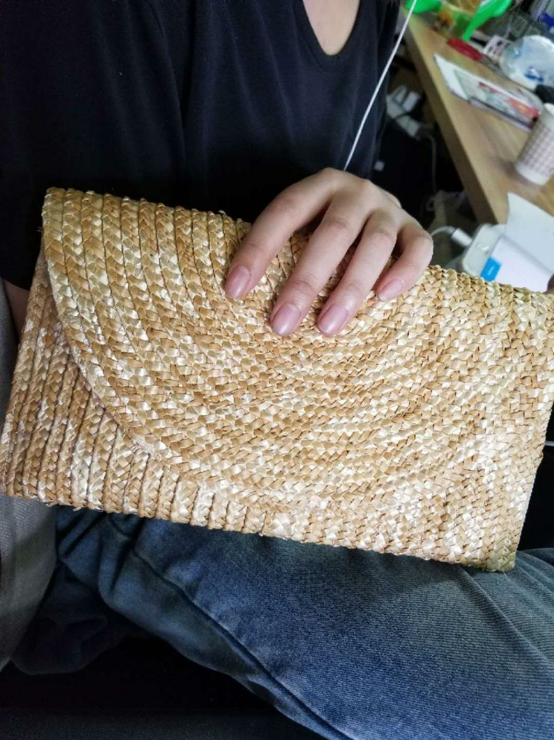 1cb2967220 Ladies handmade straw clutch, Women's Fashion, Bags & Wallets, Clutches on  Carousell