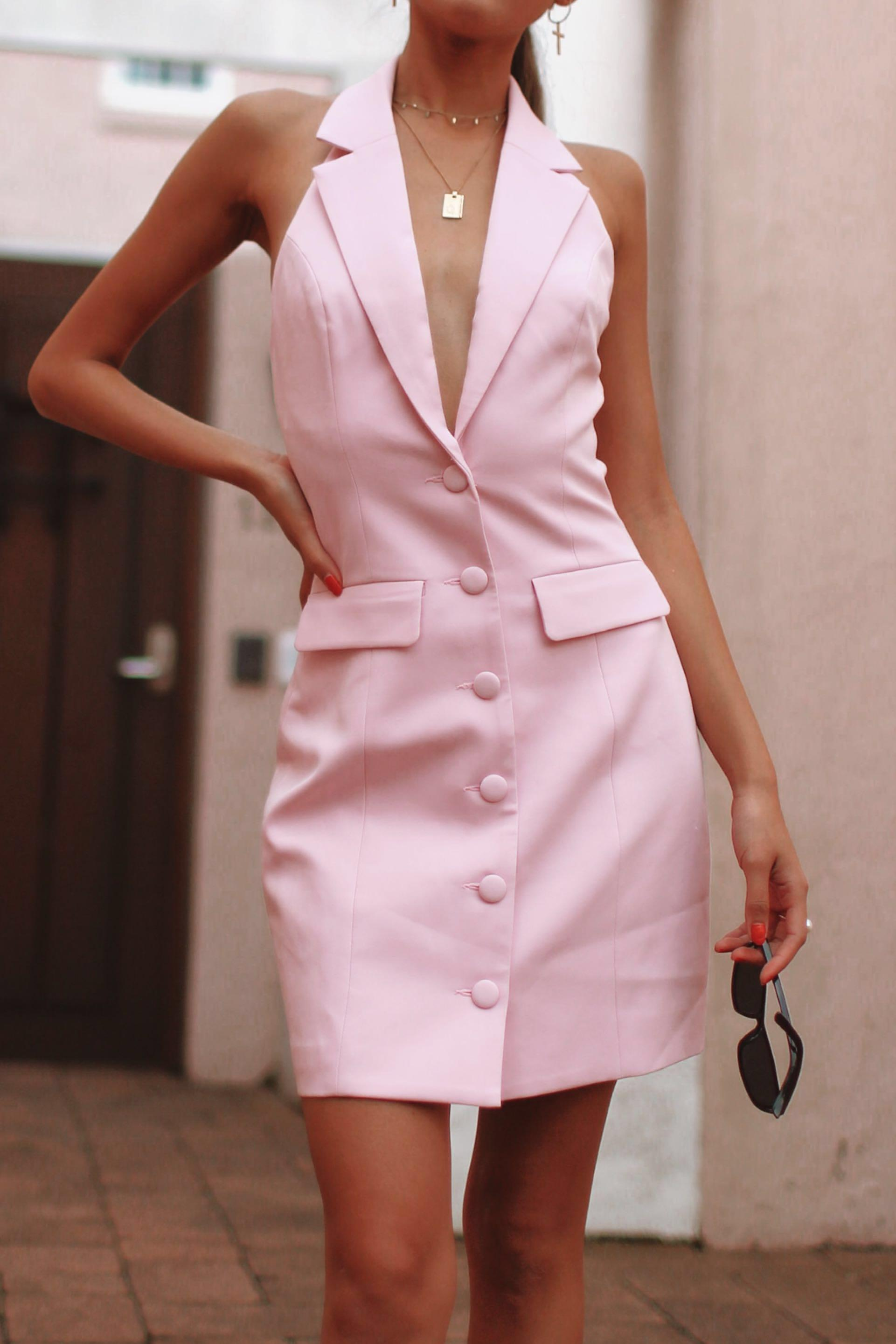Meshki Daniella Collared Halter Dress - Light Pink