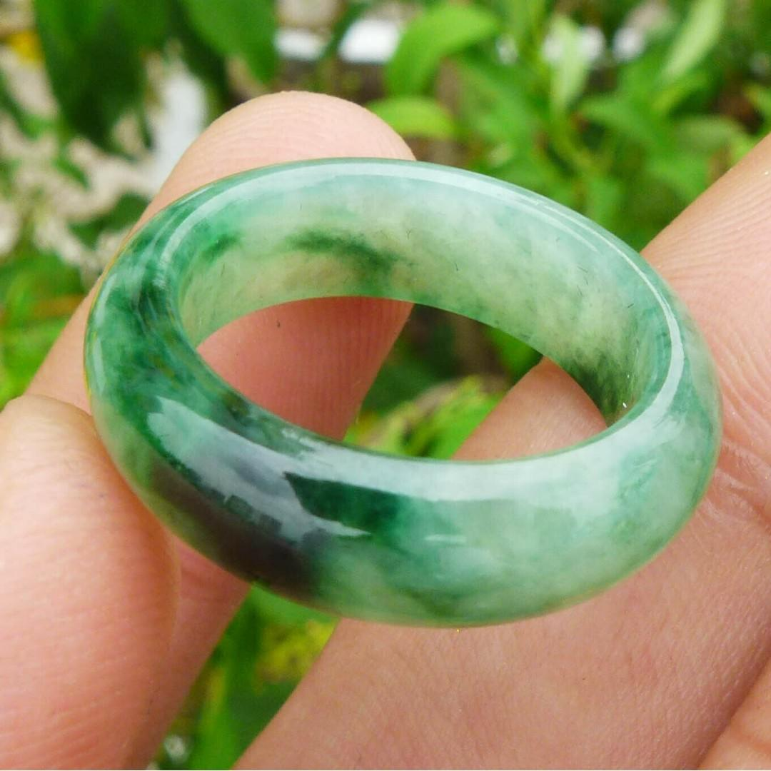 Myanmar Natural Grade A Jadeite Jade One Piece Ring Carvig Tranparent Green 17mm