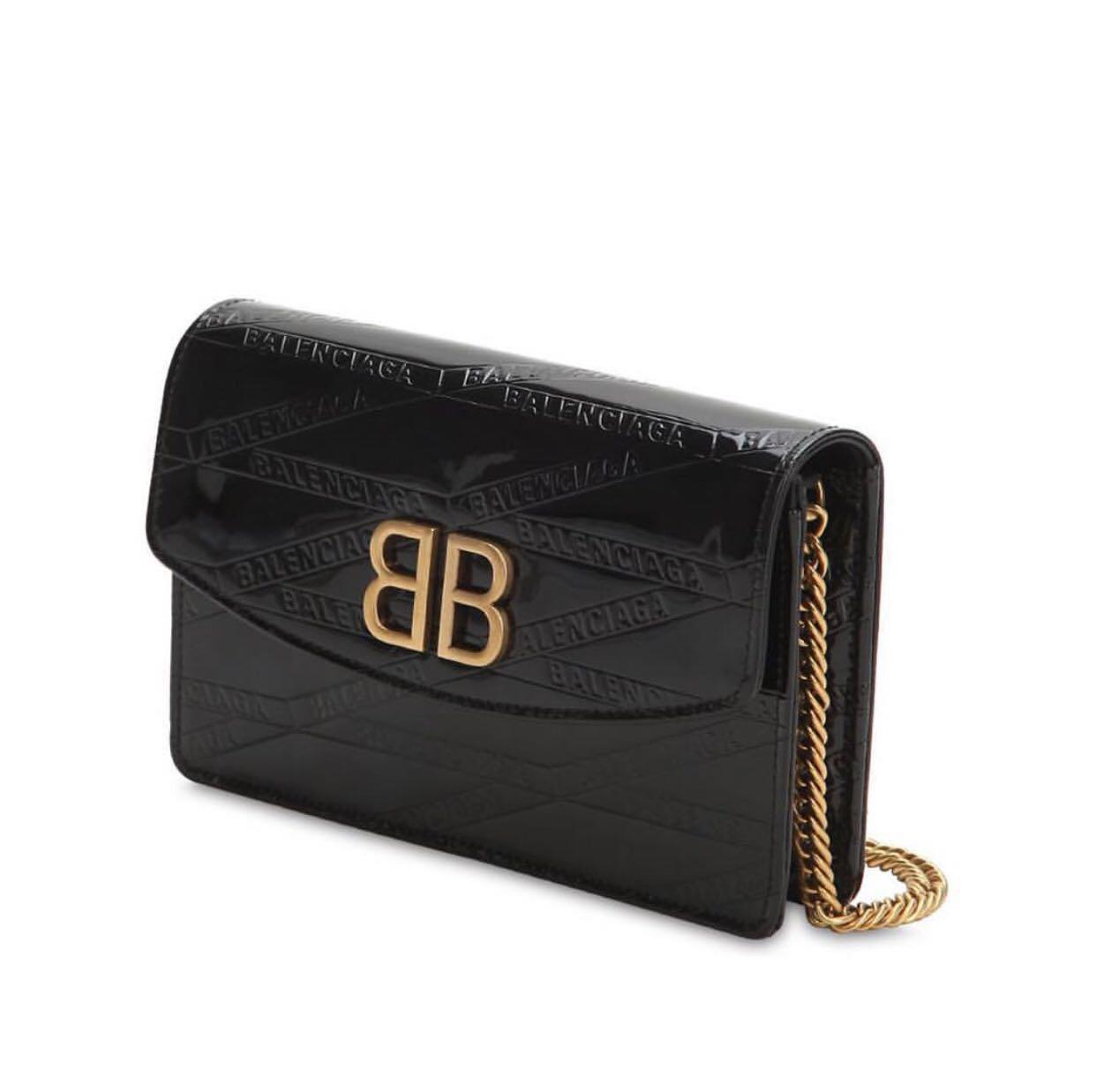 NEW In Box BALENCIAGA BB All Over Logo Printed Shoulder Bag in Black GHW