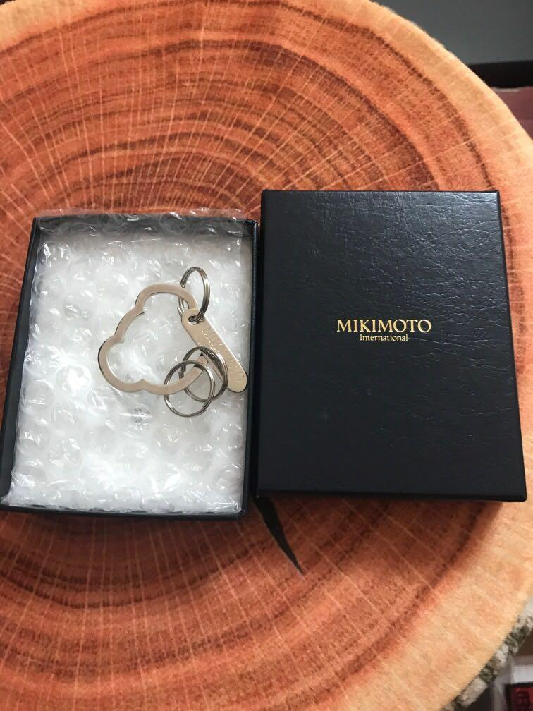New Mikimoto Pearl Silver Teddy bear Keychain with box