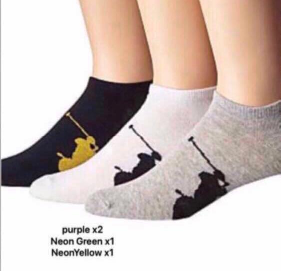 Ralph Lauren Women. Ralph Lauren Socks. Women. NO SHOW SOCKS. White. Pack of 4. AUTHENTIC. Pony in PurpleX2, Neon GreenX1 and Neon YellowX1. MAIL ONLY ITEM.