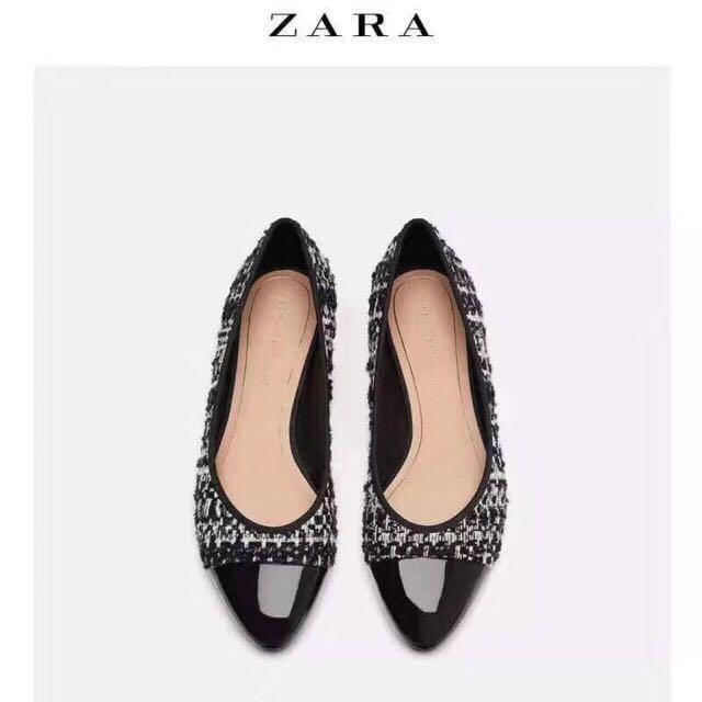 Ready size 37 38 39 40 - ZARA Tweed Knit Flat Shoes Original