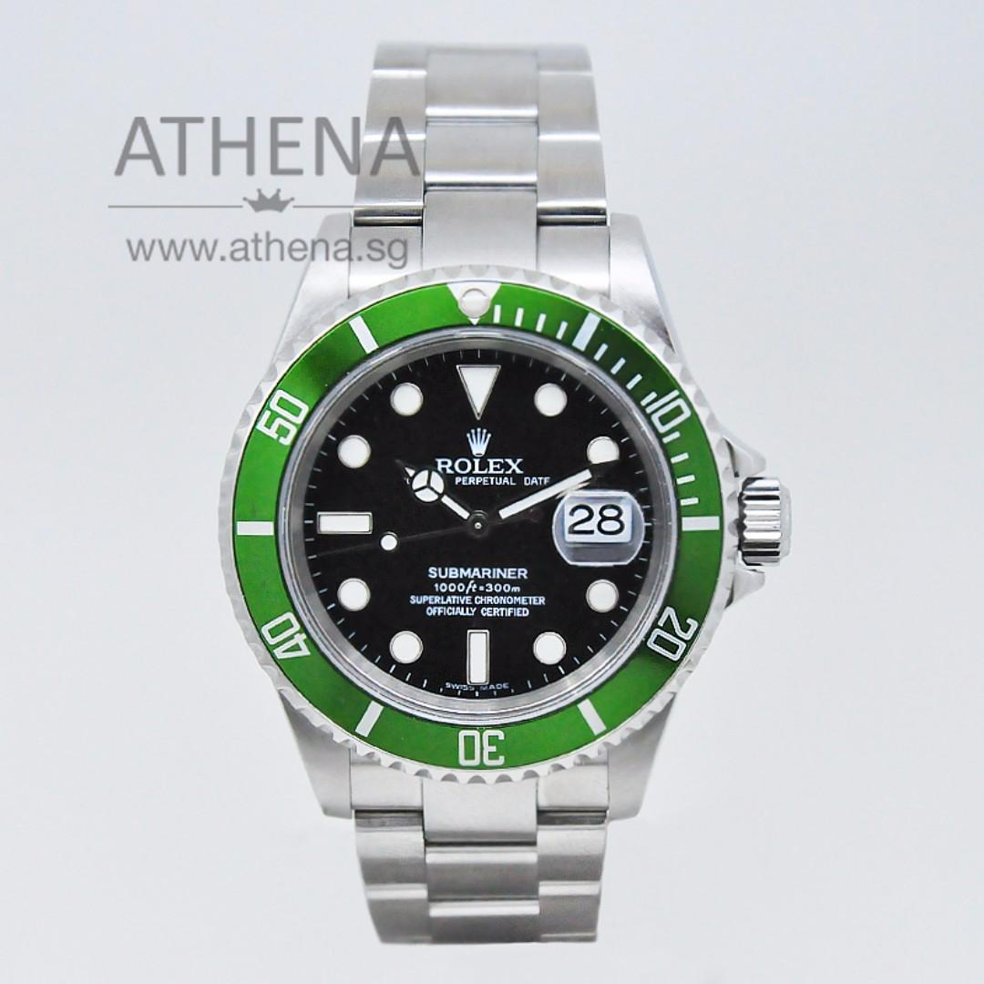 """ROLEX """"OYSTER PERPETUAL DATE """" 50TH ANNIVERSARY """" GREEN SUBMARINER """"Z"""" SERIES WITH CERT 16610LV  JGWRL_732"""