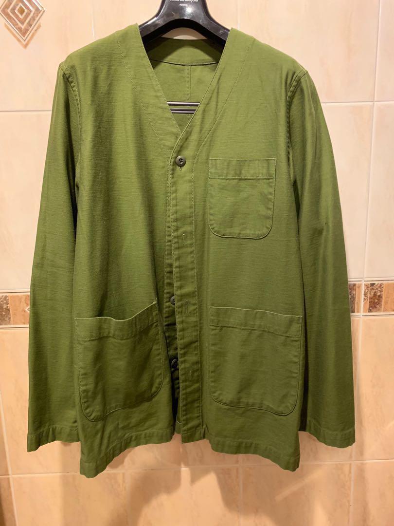 Sophnet no collar panel work coat military shirt jacket