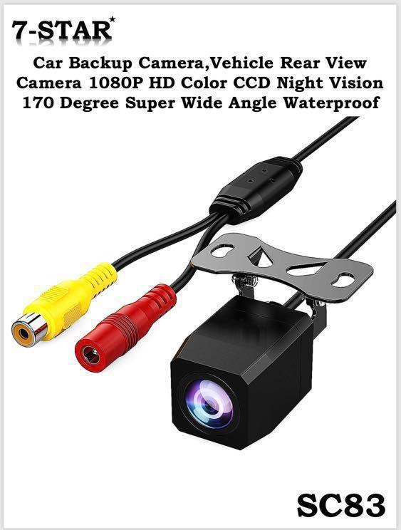 STARLIGHT Ultra Low-LUX Reverse Rear Camera - 170 Degree Super Wide Angle/Waterproof/Parking Guide Line [7-STAR* Front and Back Car Camera] Ultra Night Vision CCTV Car Cam Reverse Camera with 6M RCA Cable