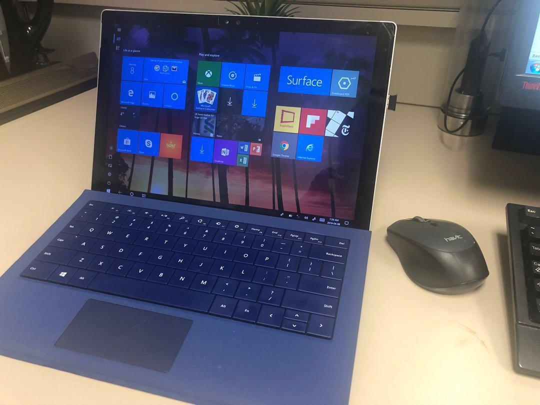 Surface pro 4 with keyboard, works great, screen protected