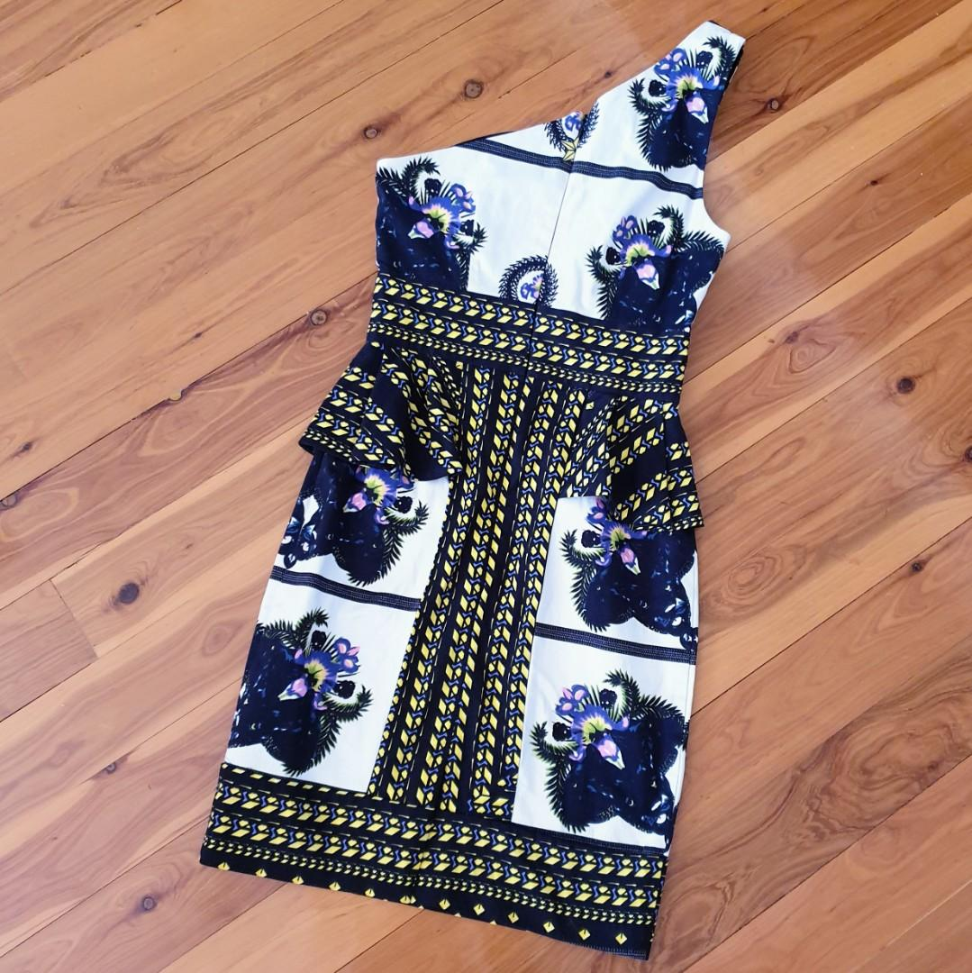 Women's size 6 'SHEIKE' Stunning one shoulder multi-coloured bodycon peplum dress