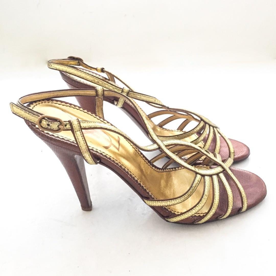 16eb6ba8e50a5 Auth Vintage YVES SAINT LAURENT YSL Gold Strappy Slingback Sandals ...