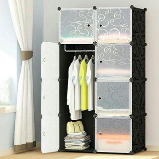 Cabinet 8 Cubes DIY Wardrobe Black Stripes