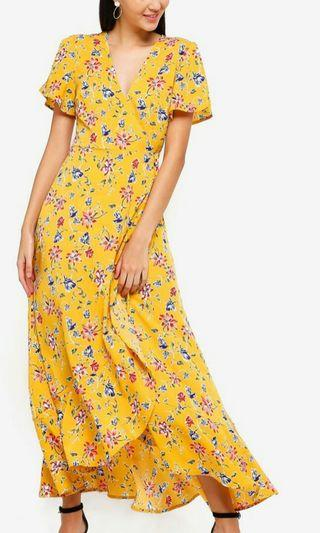 Zalora ruffles maxi wrap dress
