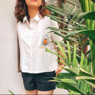 Argyle & Oxford Sanrio Edition Gudetama White Shirt #ramadanbermanfaat