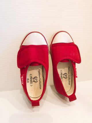 紅色帆布鞋 8成新 15公分