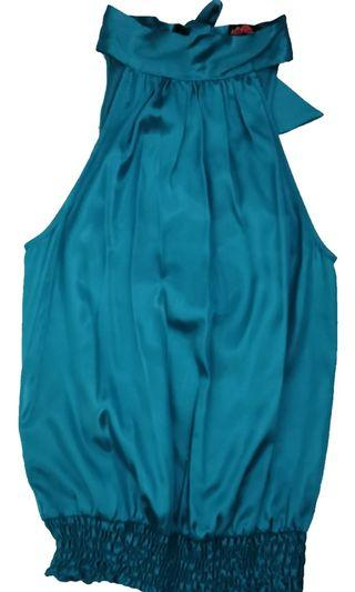 🚚 Forever 21 sleeveless top with ruched bottom in turquoise
