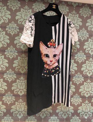 🚚 [奇怪的孩子]皇冠貓咪蕾絲黑白直條紋洋裝