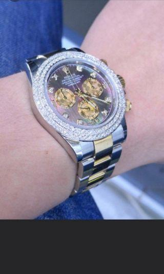 RARE, Like new Rolex Daytona Black mother of pearl diamond dial half gold 116523