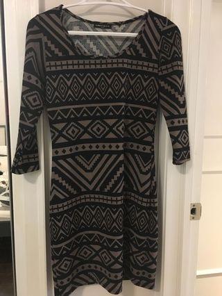 Dress - black & brown pattern