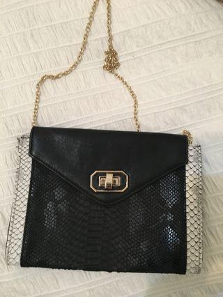 Black and White Snakeskin Bag