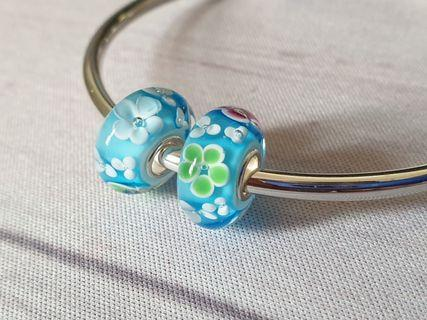 Sterling Silver Murano Charms Flower Floral fits Pandora Trollbeads Handmade Lampwork Glass