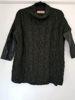 Zara knitwear with faux leather sleeves size M
