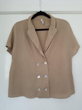 Zara TRF linen blend nude colour top size M