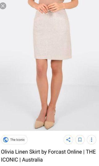 Forcast olivia beige linen skirt