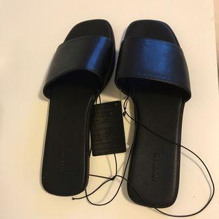 Black Faux Leather Slides