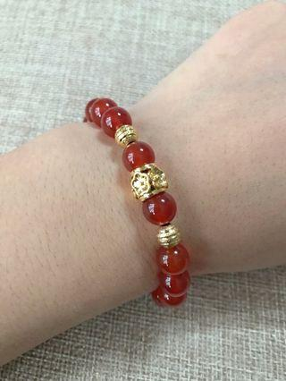 8mm Agate Bracelet with Gold Placer 沙金