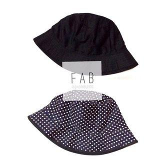 Black Polka Bucket Hat Topi